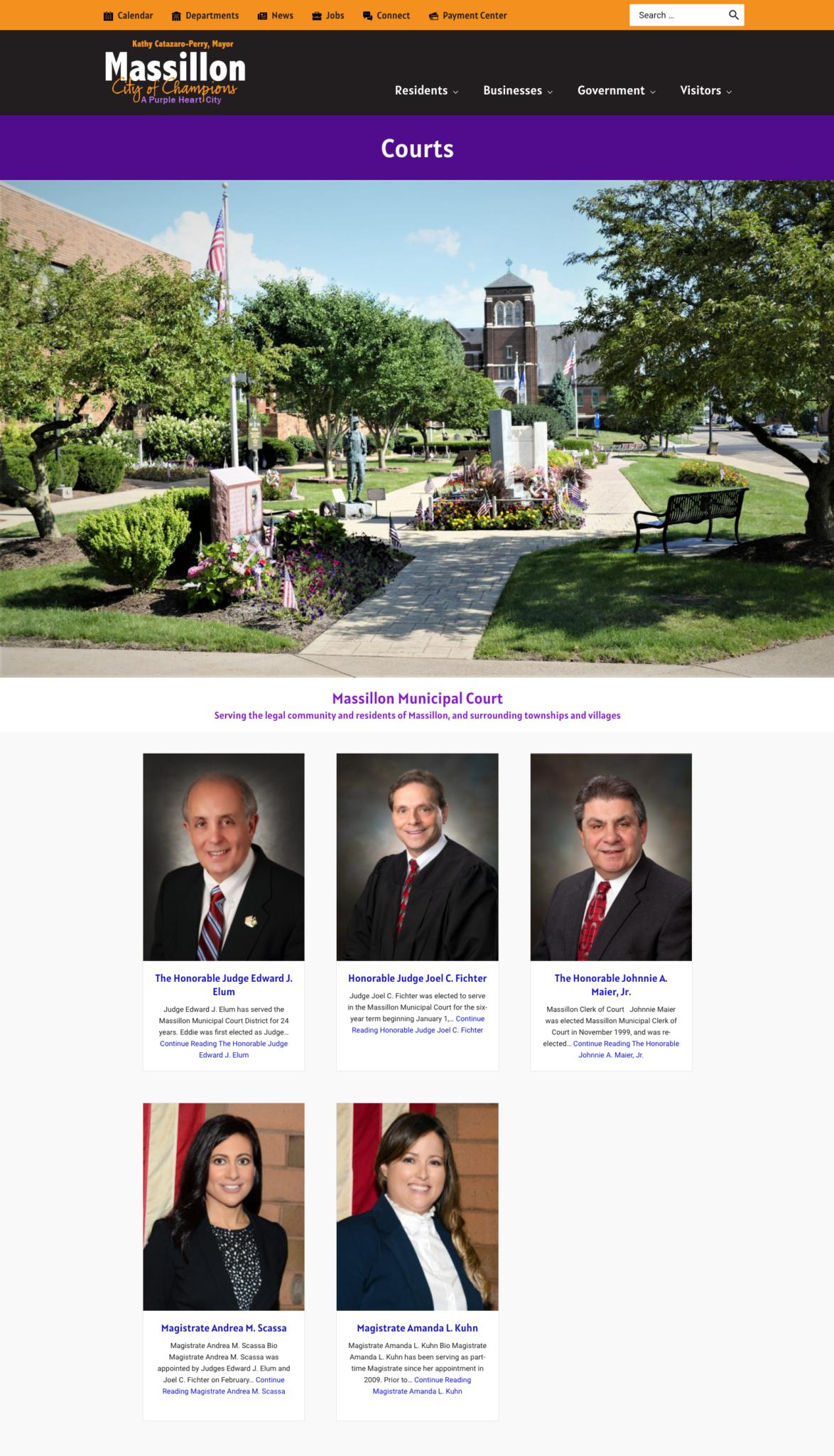 courts page from massillonohio.gov
